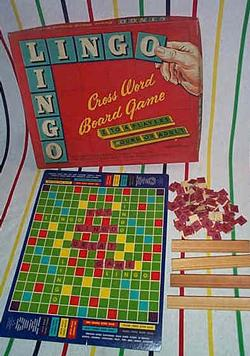of the licensed scrabble clone skip a crossbecause the production valuescoloringcontents etc are almost identicalthe board has the word quot;lingoquot;